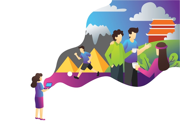 Urlaub tourist web illustration