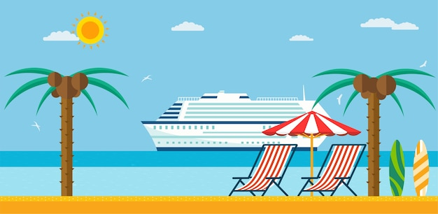 Urlaub und reisen. meeresstrand mit liege und sonnenschirm, kreuzfahrtschiff im meer.