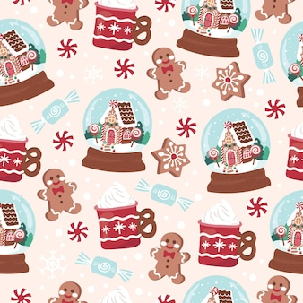 Urlaub weihnachtskugel kekse desserts und süßigkeiten nahtlose muster