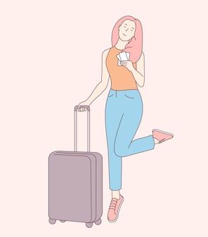 Urlaubs- oder geschäftsreisekonzept. junge lächelnde frau als reisender bringen gepäckbeutel. reisen sie ins ausland im urlaub abenteuer lebensstil