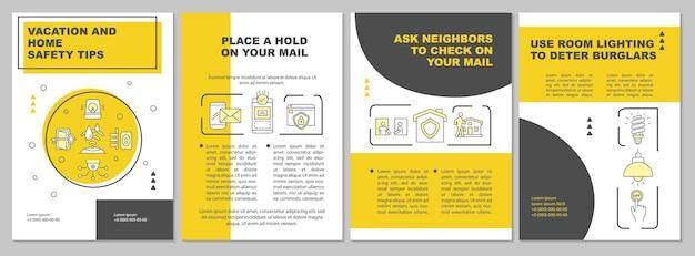 Urlaubs- und haussicherheitstipps gelbe broschürenvorlage. flyer, broschüre, broschürendruck, cover-design mit linearen symbolen. vektorlayouts für präsentationen, geschäftsberichte, anzeigenseiten