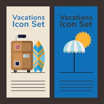 Urlaubsikonen und beschriftungsplakate