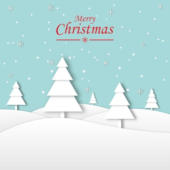 Urlaubskonzept. schöne ferien. frohes neues jahr auf winterlandschaft mit schneeflocken und kiefernwaldhintergrund und frohe weihnachten papierkunst. grußkarte