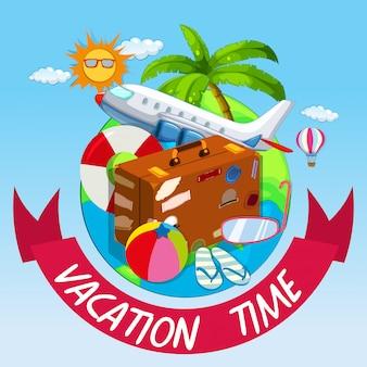Urlaubszeit mit tasche und flugzeug