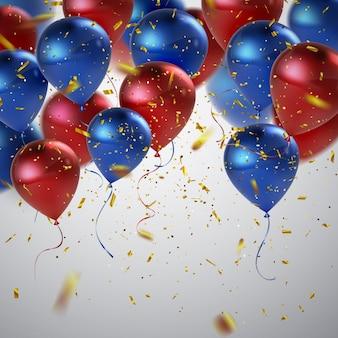 Urlaubszusammenfassung mit luftballons und konfetti