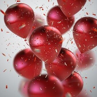 Urlaubszusammenfassung mit roten luftballons und konfetti