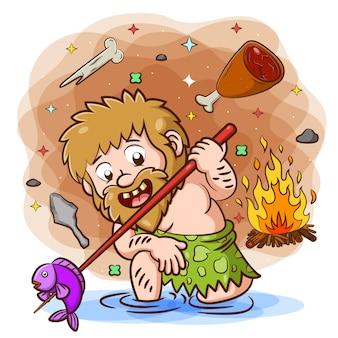 Urmensch, der dafür tut, den fisch aus dem fluss zu essen und ihn zu verbrennen