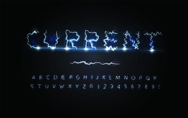 Urrent power buchstaben und zahlen setzen blaue blitzeinschlag stürmisches wetter-stil-elektrizitäts-alphabet