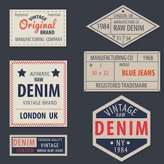 Ursprüngliche denimaufkleber der ursprünglichen jeans der weinlese jeans, echte exklusive marken, vektorillustration