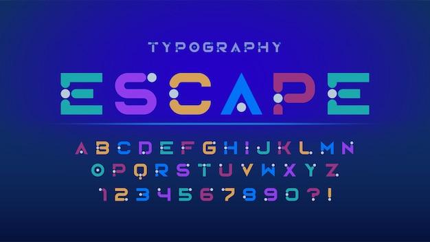 Ursprüngliche futuristische anzeigenschriftart, -alphabet und -zahlen.
