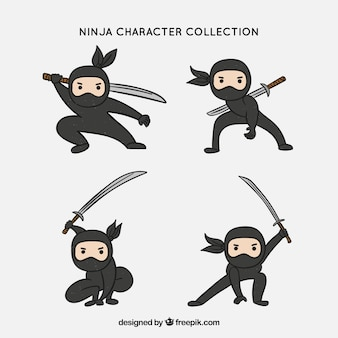 Ursprüngliche hand gezeichnete ninja charaktersammlung