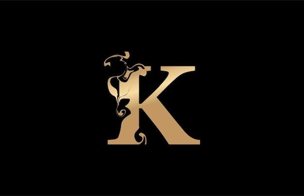 Ursprüngliche typografie k verbundenes künstlerisches marmorfarbe-goldform-logo