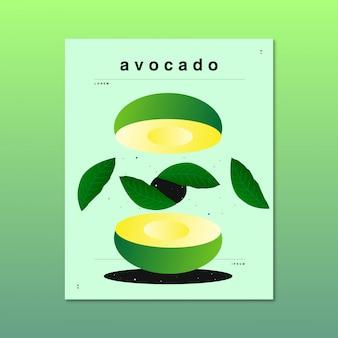 Ursprüngliche und abstrakte illustration einer avocado