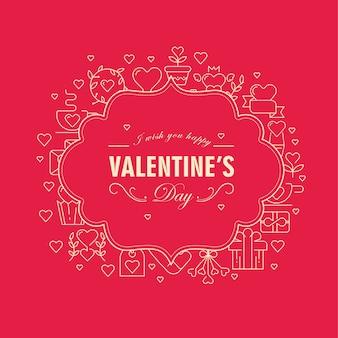 Ursprüngliche zweifarbige figurierte rahmenkarte mit vielen symbolobjekten um den text über valentinstag auf der roten vektorillustration