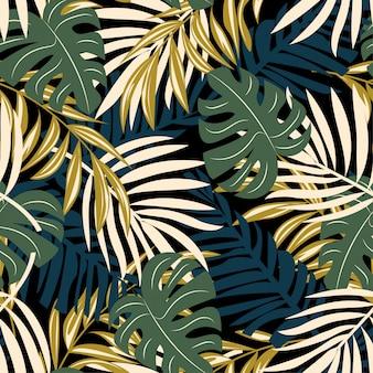 Ursprüngliches abstraktes nahtloses muster mit bunten tropischen blättern und anlagen auf einem dunklen hintergrund