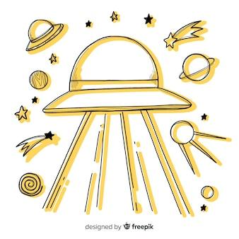 Ursprüngliches hand gezeichnetes ufo-abduktionskonzept