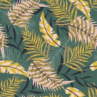 Ursprüngliches nahtloses muster mit anlagen und blättern auf grünem hintergrund