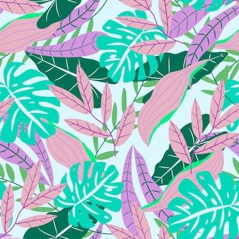 Ursprüngliches nahtloses muster mit tropischen blättern