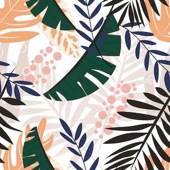 Ursprüngliches nahtloses muster mit tropischen pflanzen