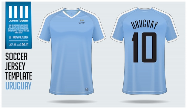 Uruguay-fußballtrikotmodell oder fußballausrüstungsschablone.