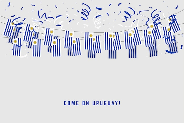 Uruguay-girlandenflagge mit konfettis auf grauem hintergrund.