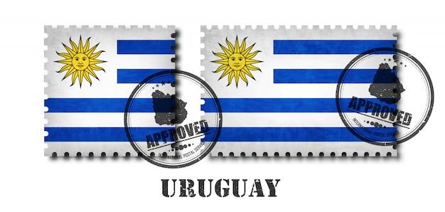 Uruguayische oder uruguay-flaggenmuster-briefmarke