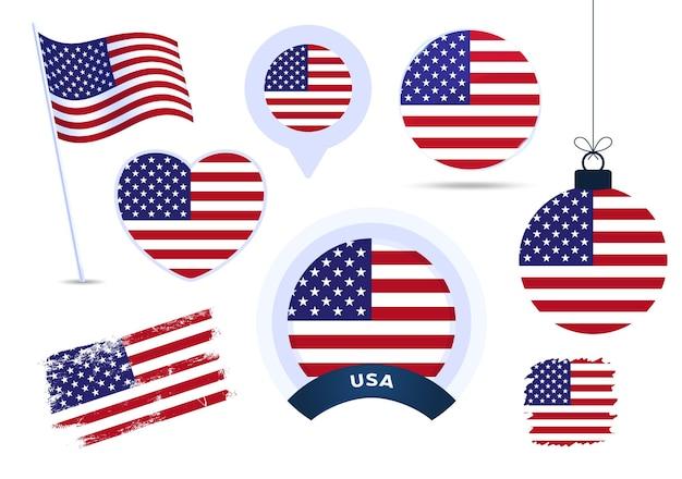 Us-amerikanische flaggenvektorsammlung. große auswahl an designelementen der nationalflagge in verschiedenen formen für öffentliche und nationale feiertage im flachen stil.