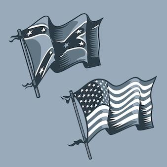 Us- und confederate-flaggen
