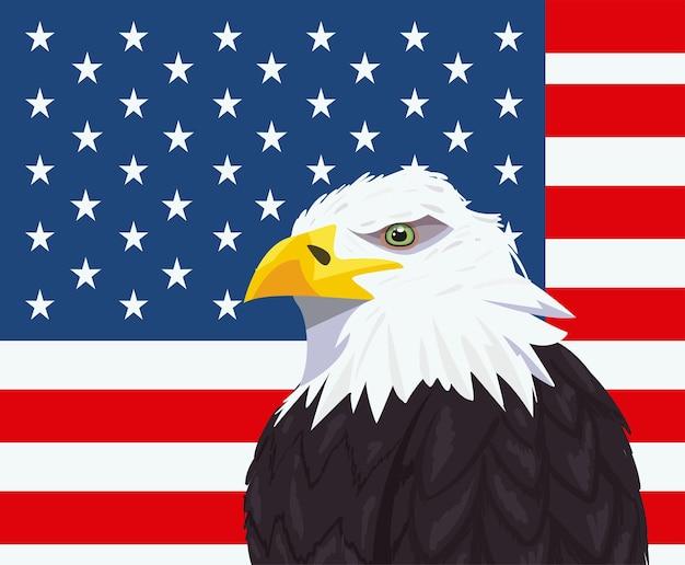 Usa adler mit landflagge