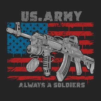 Usa-amerika-gewehrwaffe ak-47 mit usa-flagge und grunge-vektor