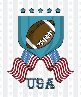 Usa-amerikanischer fußballball auf ausweis mit flaggenemblemvektor-illustrationsgrafikdesign