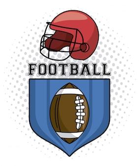 Usa-amerikanisches fußballemblem mit sturzhelm und ball auf ausweisvektor-illustrationsgrafikdesign