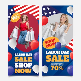 Usa-arbeitstag-banner mit farbverlauf mit foto eingestellt