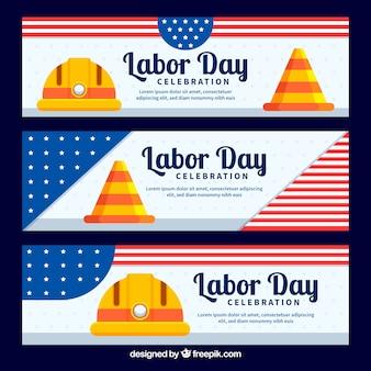 Usa-arbeitstagesfahnen mit flachem design