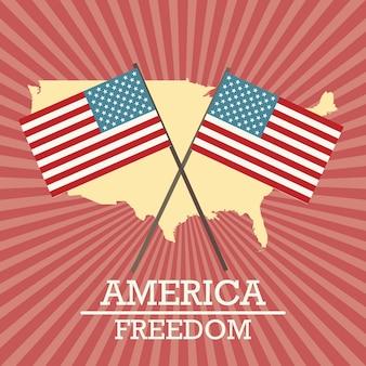 Usa-aufkleber mit karte und flaggen auf weinlesehintergrund