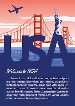 Usa-broschüre im nationalen flaggenfarbdesign der typografie