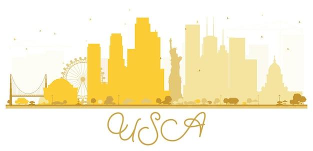 Usa city skyline goldene silhouette. einfaches flaches konzept für tourismuspräsentation, banner, plakat oder website. geschäftsreisekonzept. stadtbild mit wahrzeichen