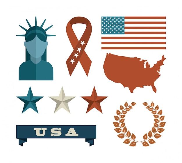 Usa-design über weißer hintergrundvektorillustration