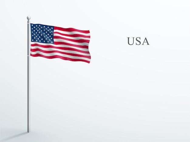 Usa flag 3d element winken auf stahl fahnenmast