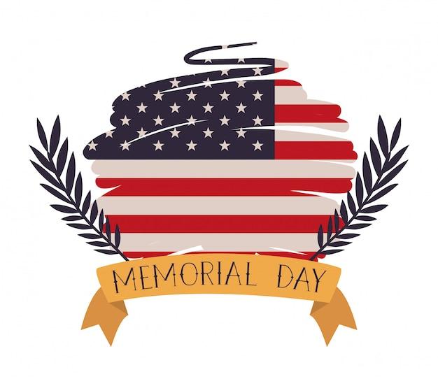 Usa-flagge gemalt mit kranz des gedenktagemblems