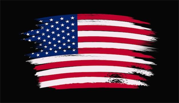 Usa flagge mit kunstpinsel
