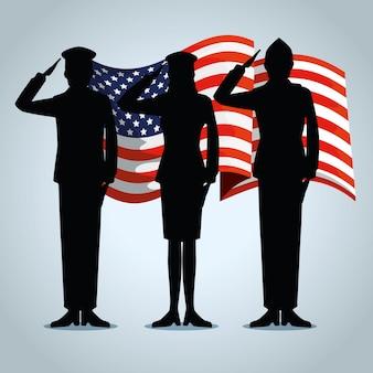 Usa-flagge mit patriotischen militärs zum feiertag
