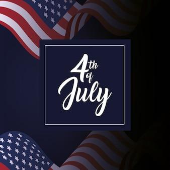 Usa flagge mit rahmen vom 4. juli
