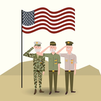 Usa-flagge mit veteranen militärsoldaten