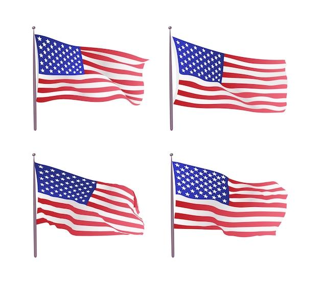 Usa flagge. winkende flagge der vereinigten staaten. illustration der gewellten amerikanischen flagge für unabhängigkeitstag.