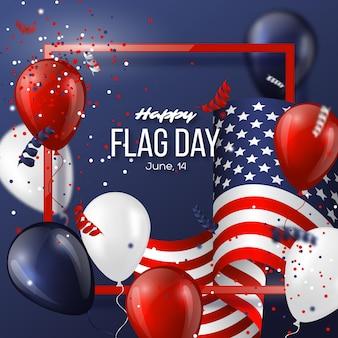 Usa-flaggen-feiertagskarte mit flagge, luftballons und konfetti in nationalfarben.