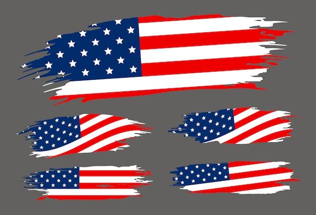 Usa-flaggenpinsel auf grauem hintergrund