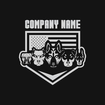 Usa-flaggenvektorillustration mit fünf hunden