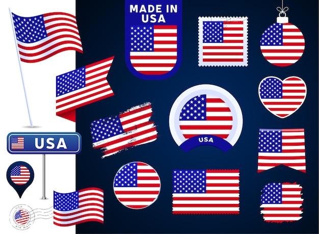 Usa-flaggenvektorsammlung. große auswahl an designelementen der nationalflagge in verschiedenen formen für öffentliche und nationale feiertage im flachen stil. poststempel, gemacht in, liebe, kreis, straßenschild, welle