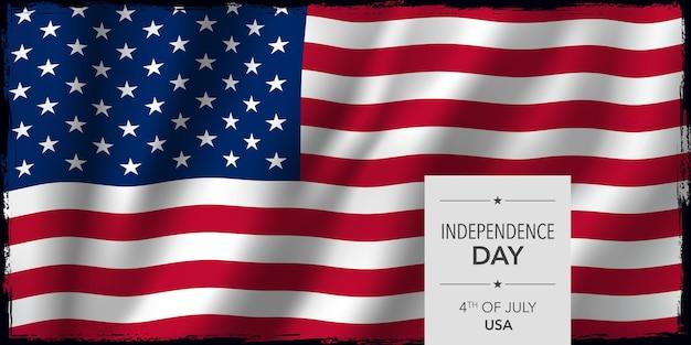 Usa glücklich unabhängigkeitstag banner. nationalfeiertag der vereinigten staaten von amerika 4. juli design mit flagge